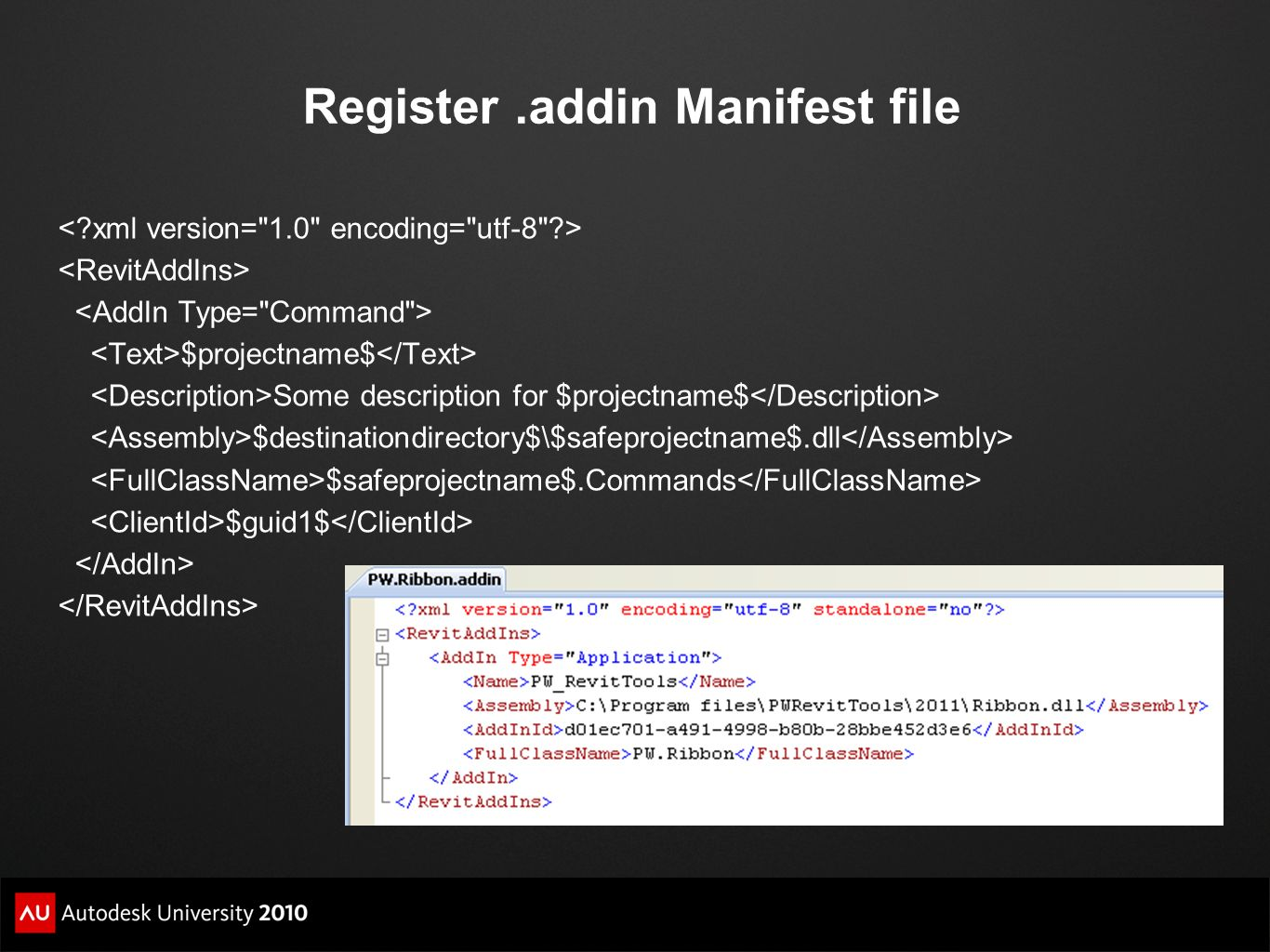 Register .addin Manifest file