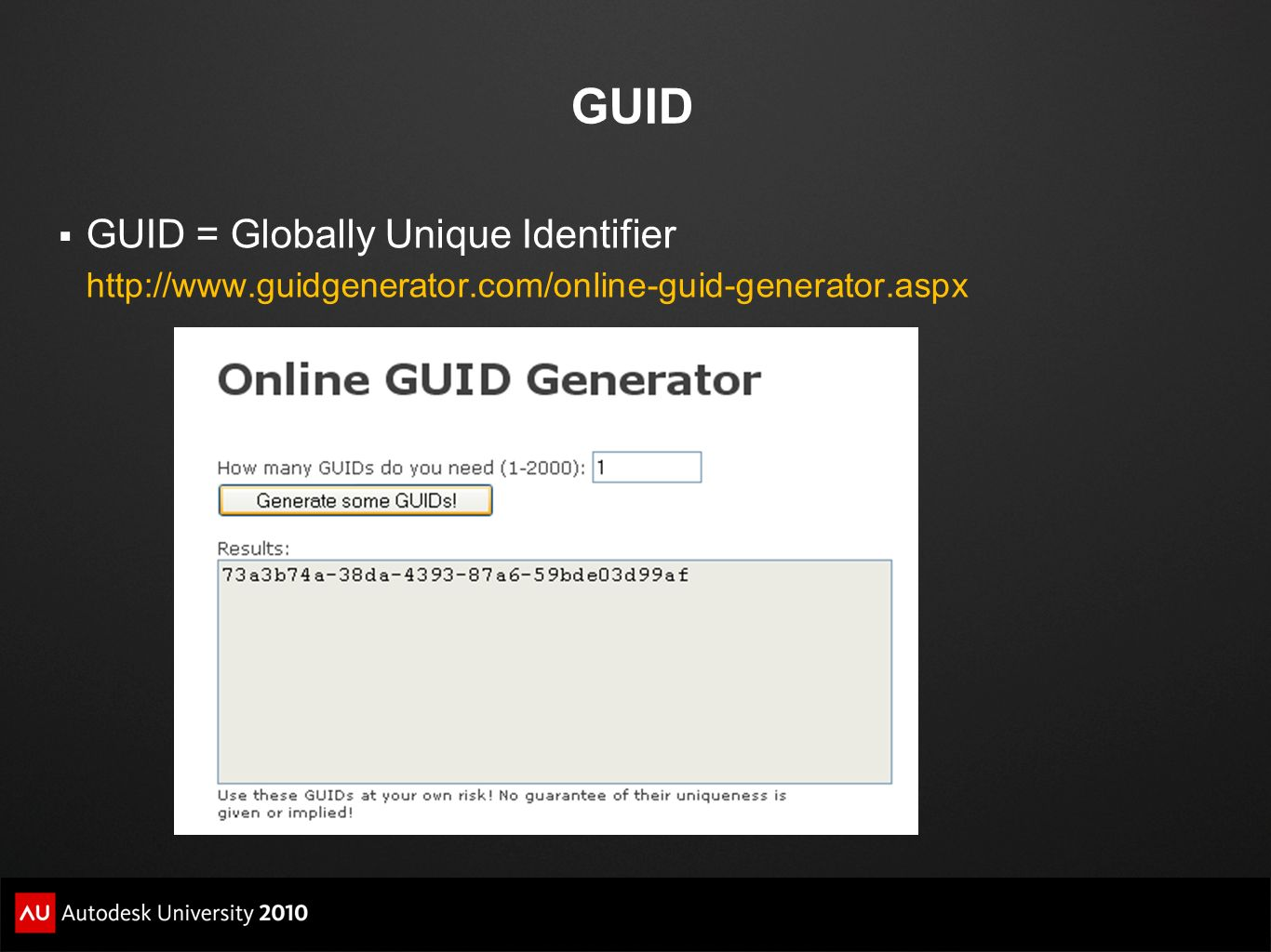 GUID GUID = Globally Unique Identifier