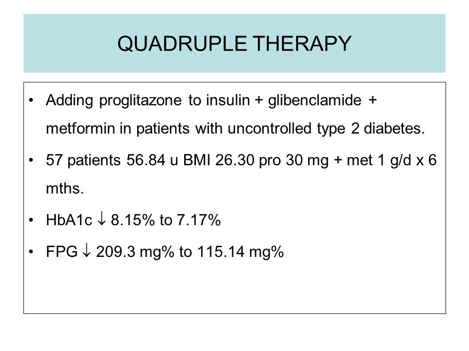 QUADRUPLE THERAPY Adding proglitazone to insulin + glibenclamide + metformin in patients with uncontrolled type 2 diabetes.