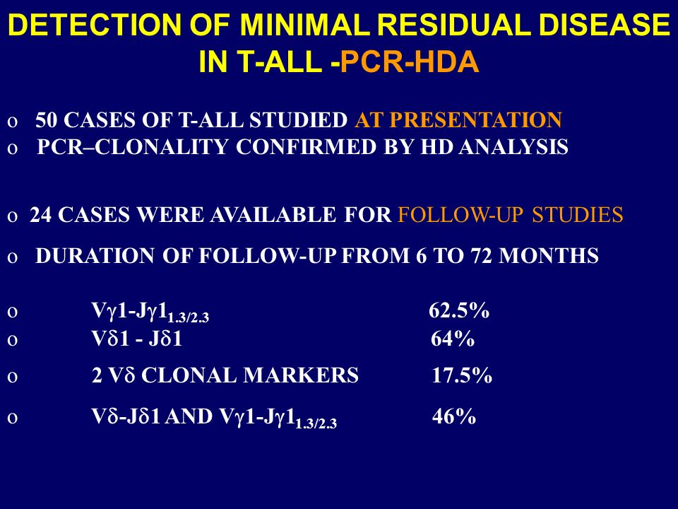 DETECTION OF MINIMAL RESIDUAL DISEASE IN T-ALL -PCR-HDA