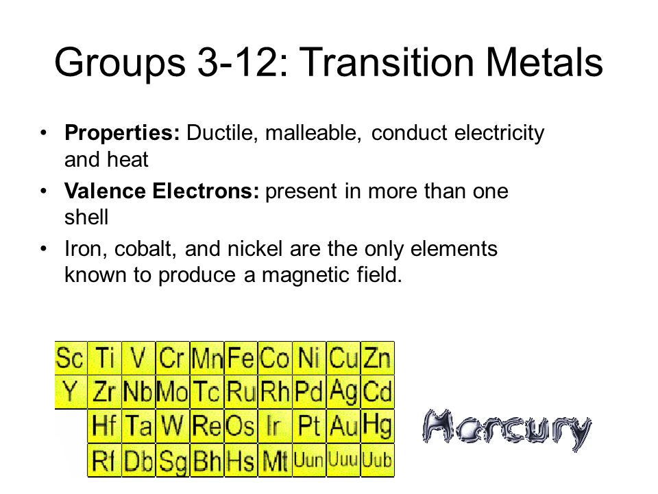 Groups 3-12: Transition Metals