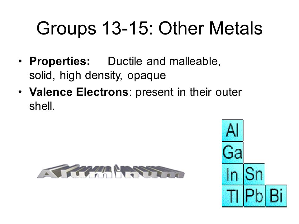 Groups 13-15: Other Metals Properties: Ductile and malleable, solid, high density, opaque.