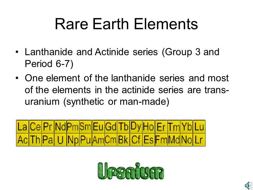 Rare Earth Elements Lanthanide and Actinide series (Group 3 and Period 6-7)