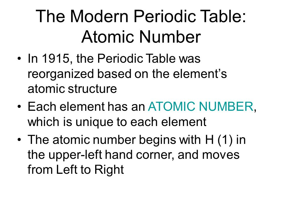 The Modern Periodic Table: Atomic Number