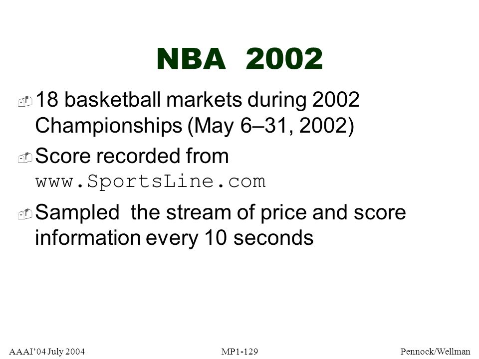 NBA 2002 18 basketball markets during 2002 Championships (May 6–31, 2002) Score recorded from www.SportsLine.com.