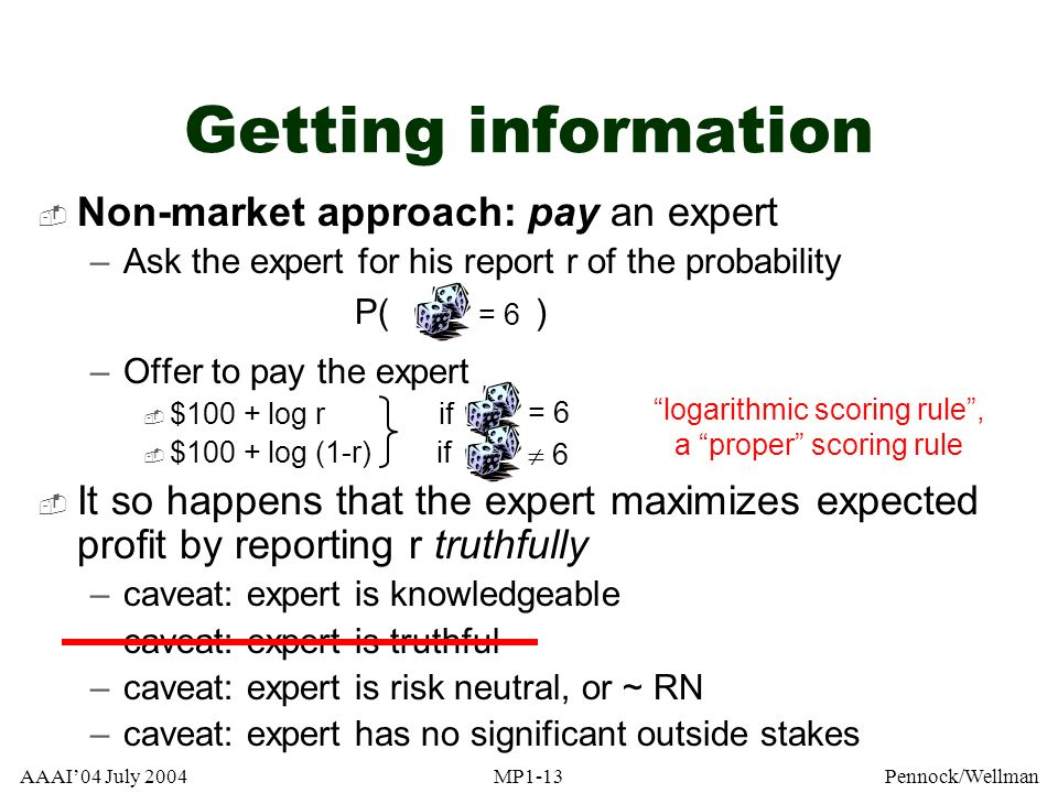Getting information Non-market approach: pay an expert