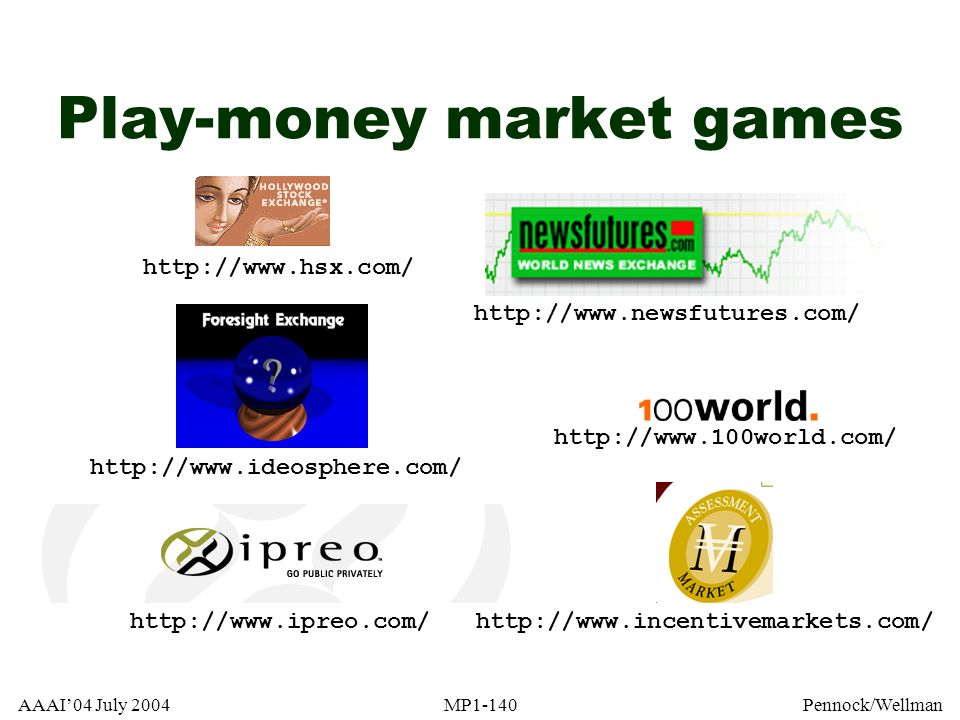 Play-money market games