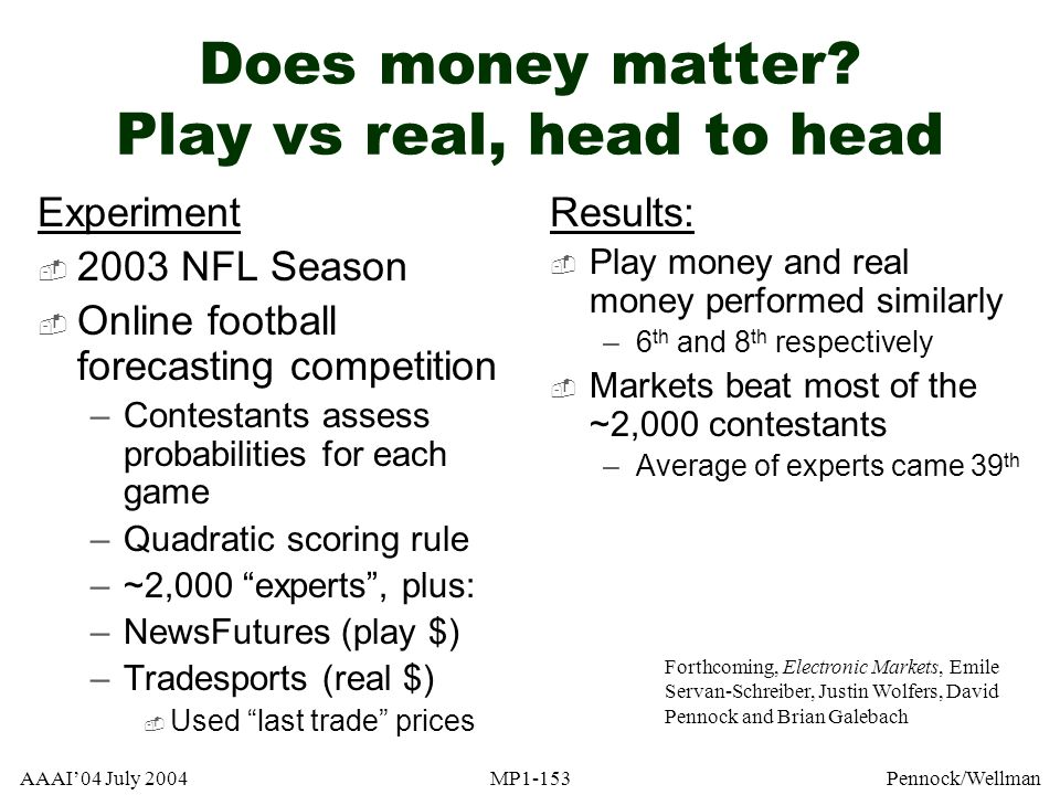 Does money matter Play vs real, head to head