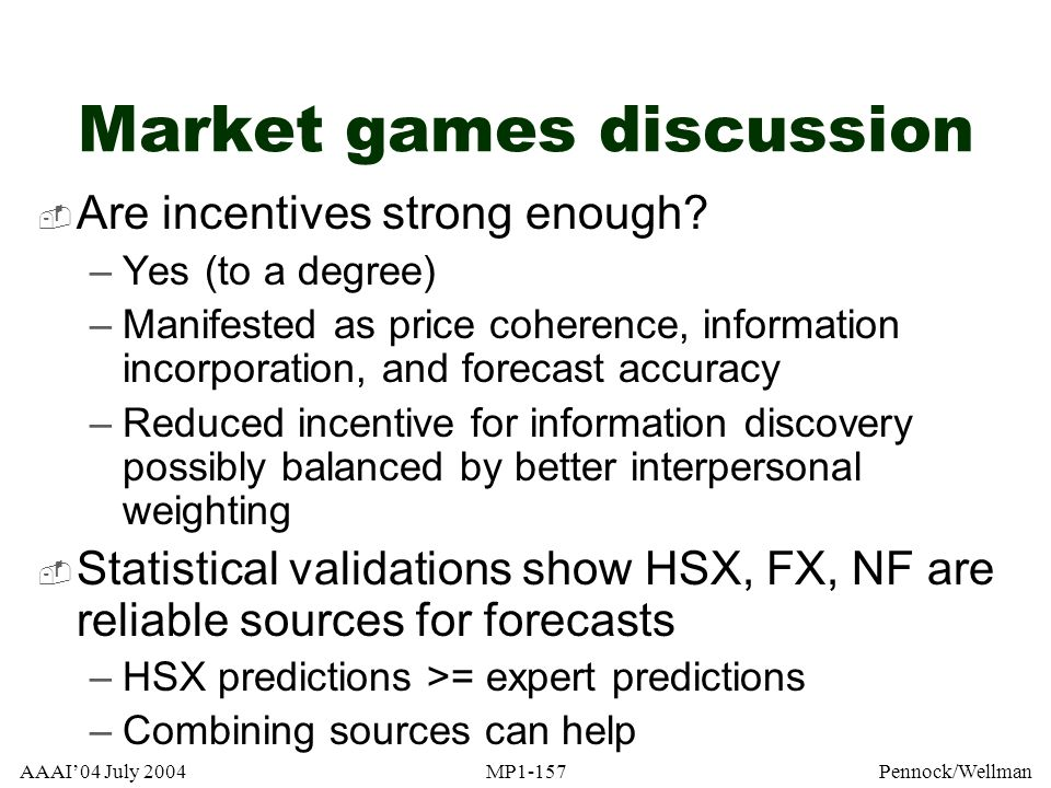 Market games discussion