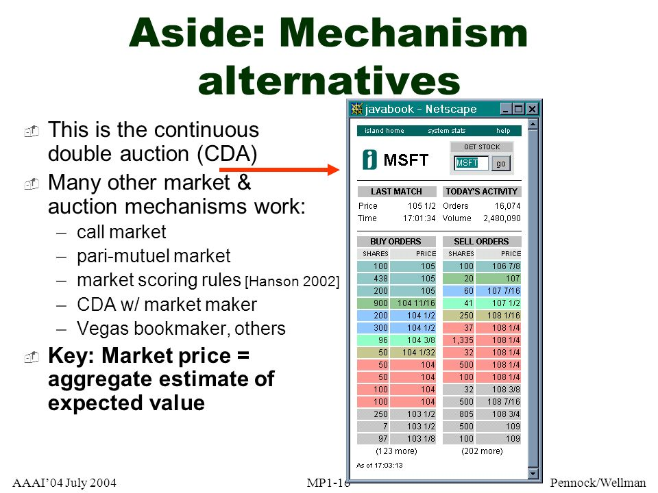 Aside: Mechanism alternatives