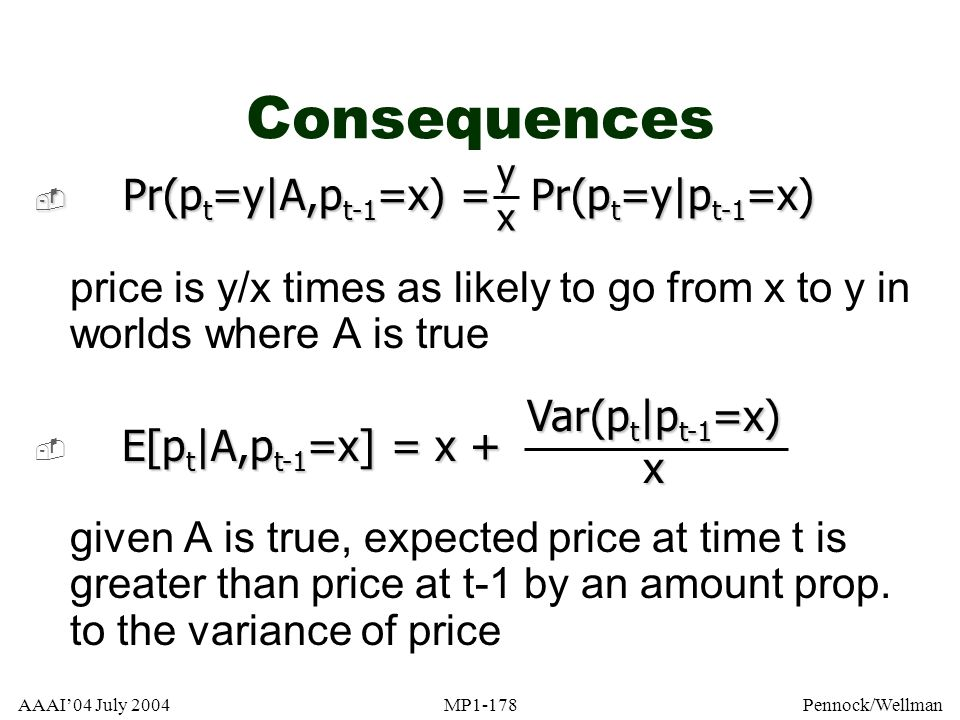Consequences y x. Pr(pt=y|A,pt-1=x) = Pr(pt=y|pt-1=x) price is y/x times as likely to go from x to y in worlds where A is true.