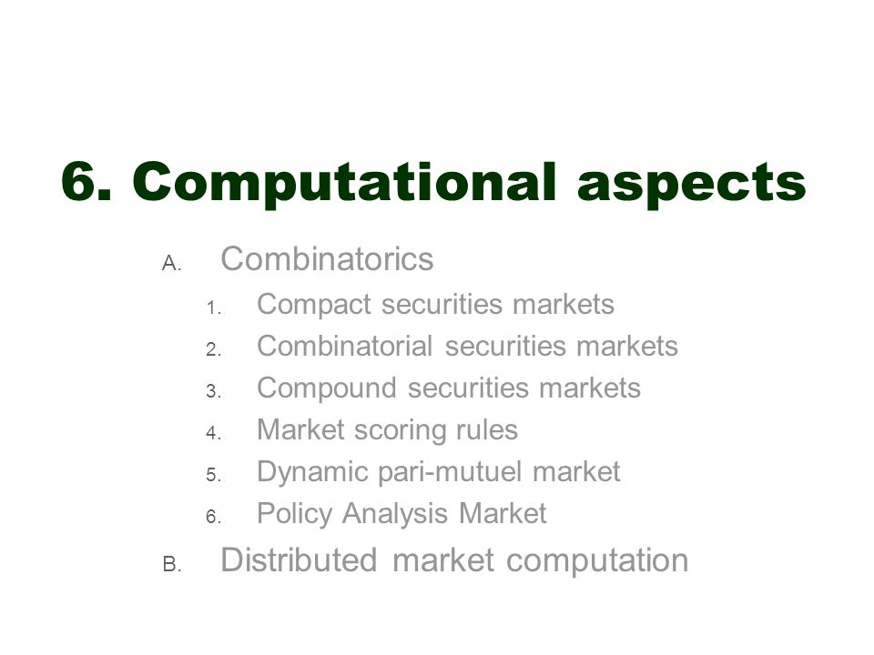 6. Computational aspects