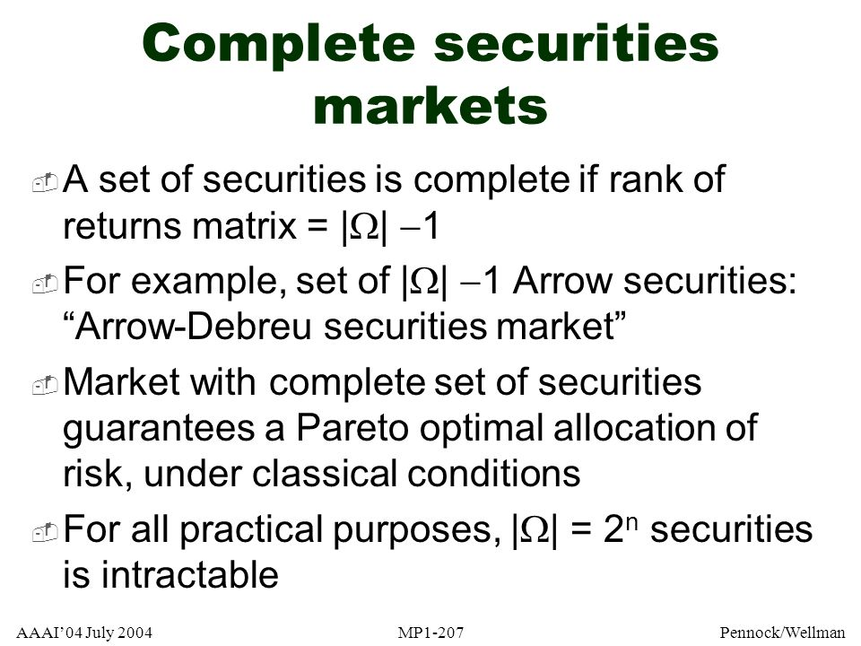 Complete securities markets