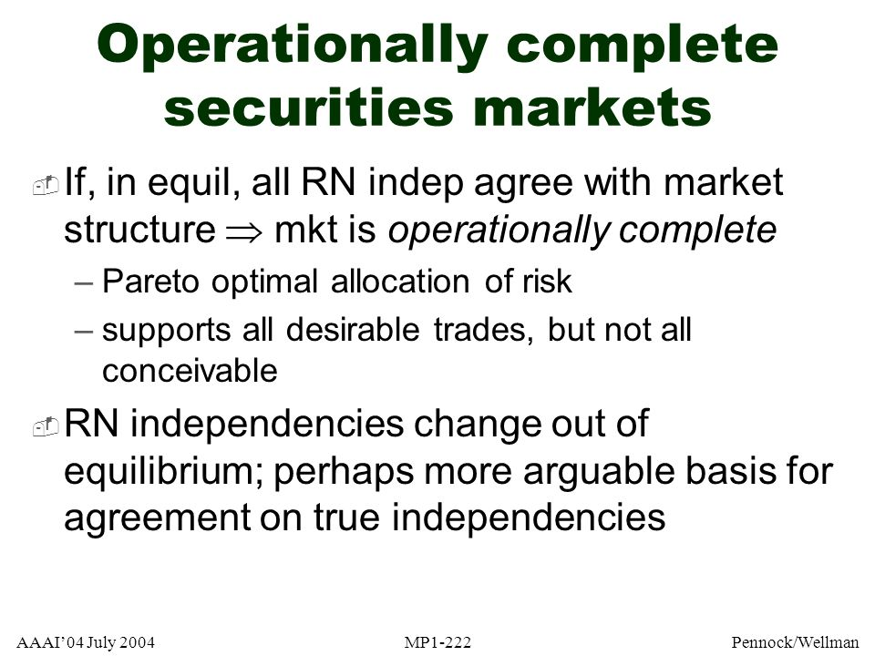 Operationally complete securities markets
