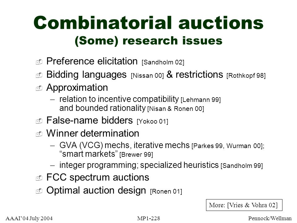Combinatorial auctions (Some) research issues
