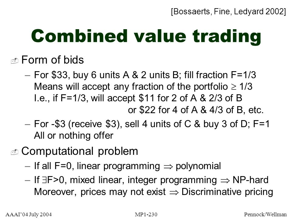 Combined value trading