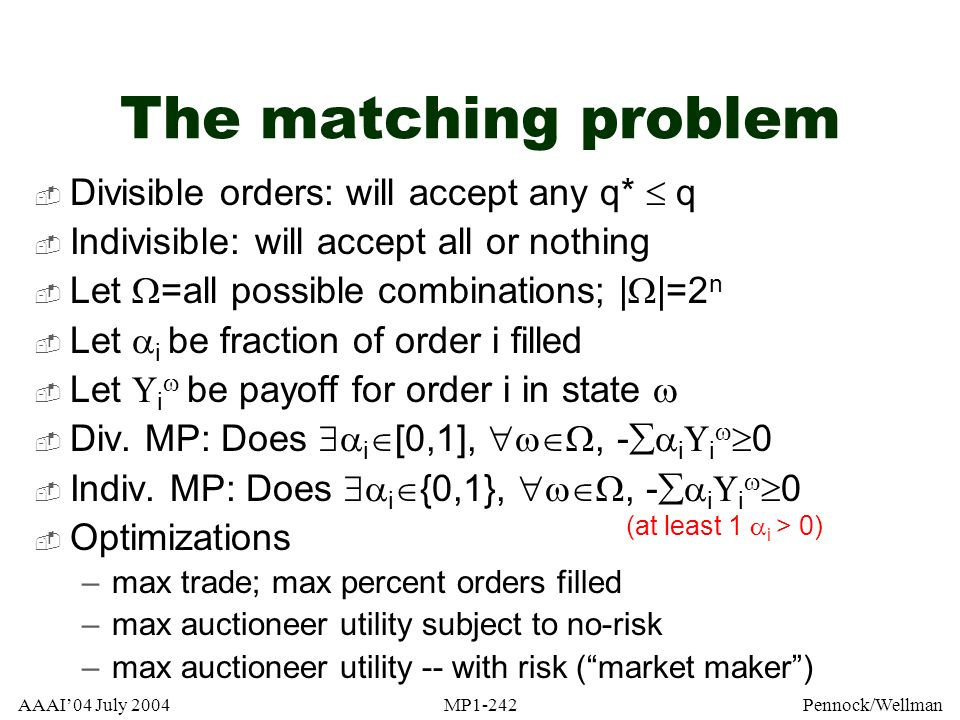 The matching problem Divisible orders: will accept any q*  q