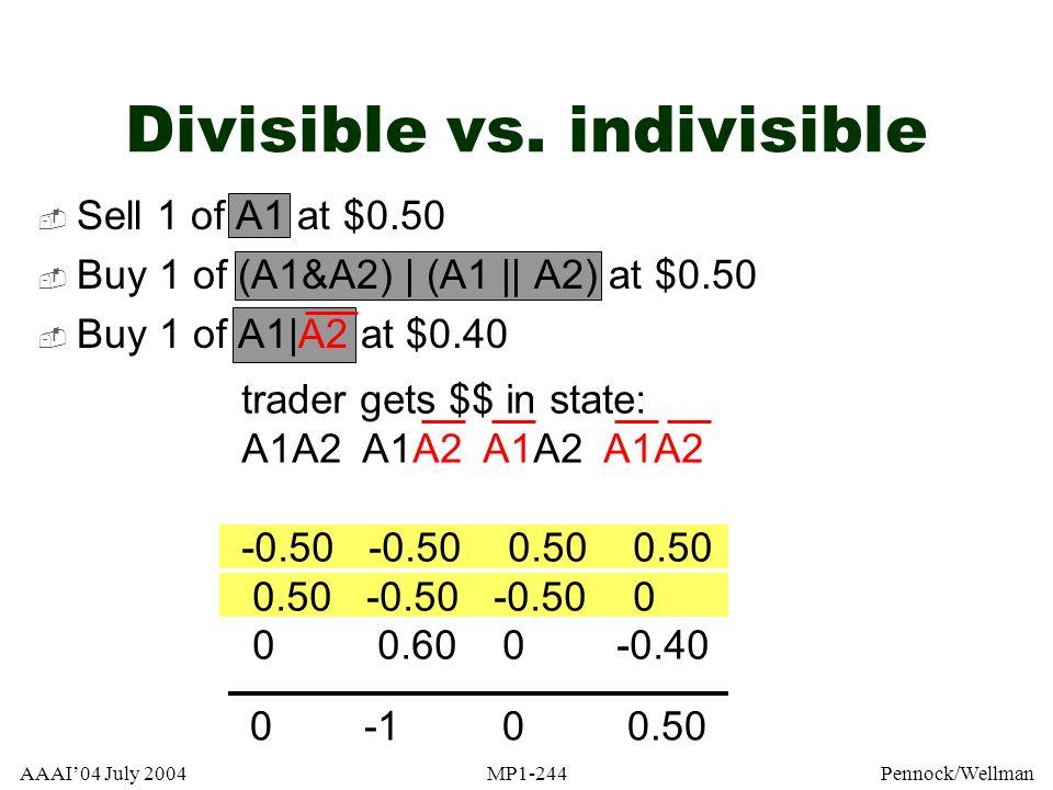 Divisible vs. indivisible