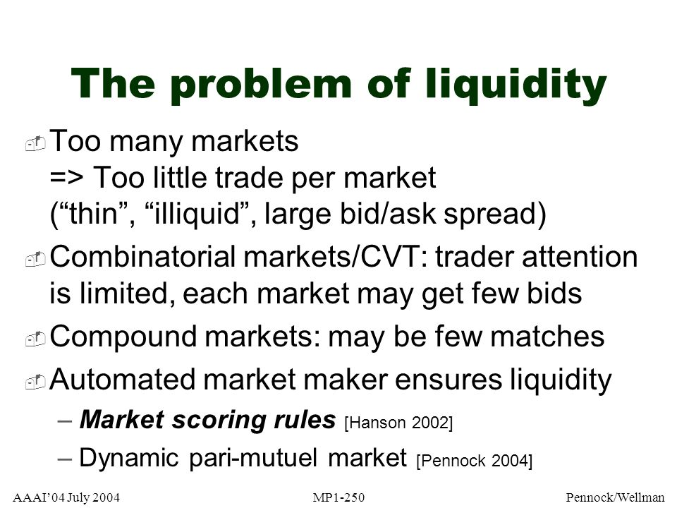 The problem of liquidity