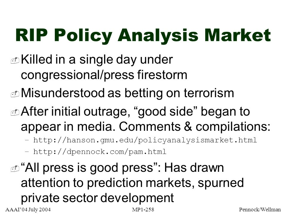 RIP Policy Analysis Market