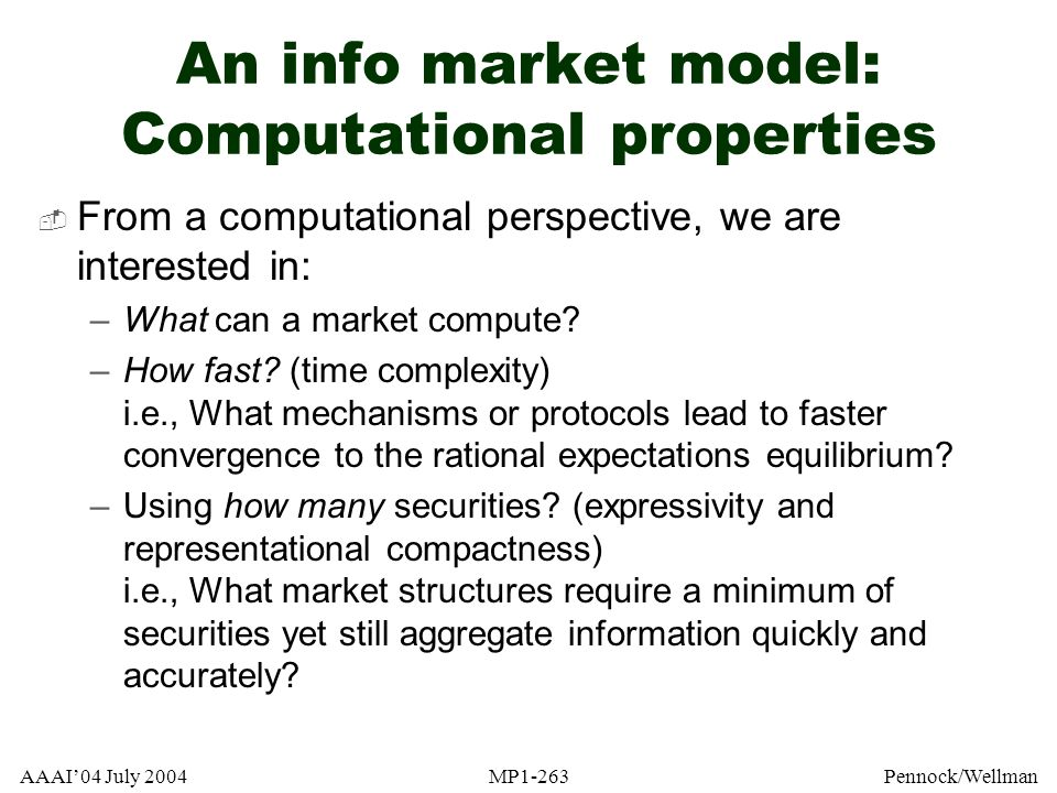An info market model: Computational properties