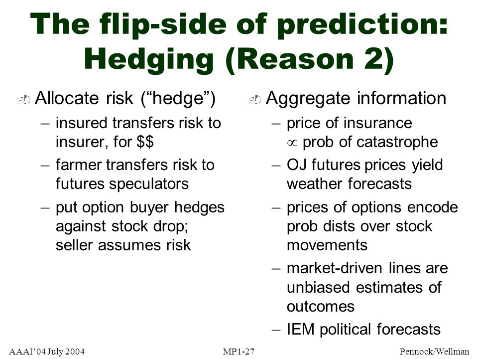 The flip-side of prediction: Hedging (Reason 2)