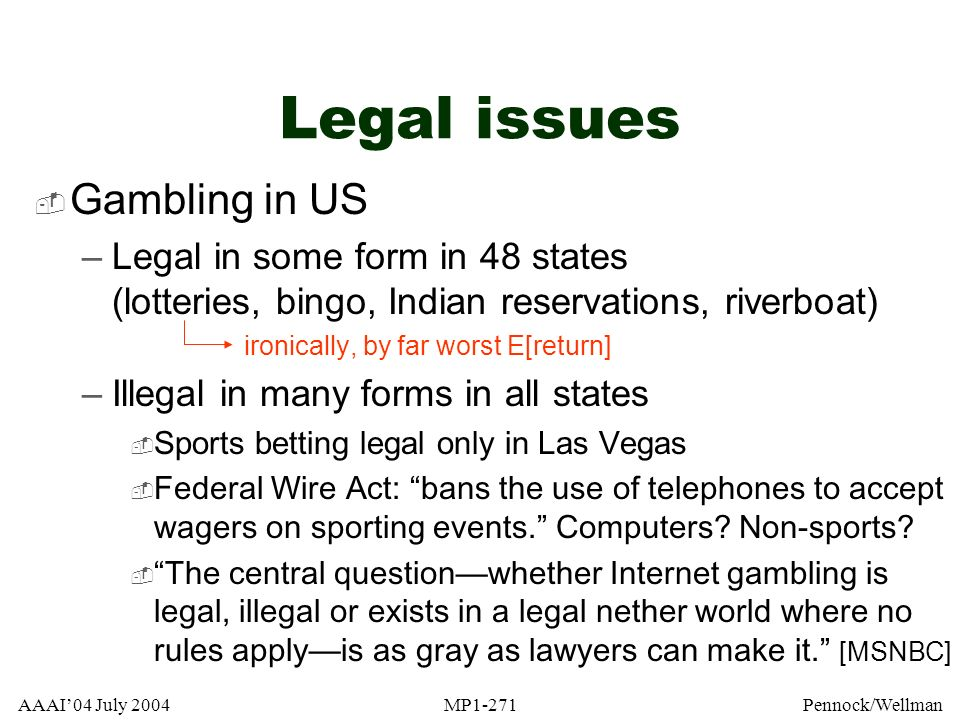 Legal issues Gambling in US