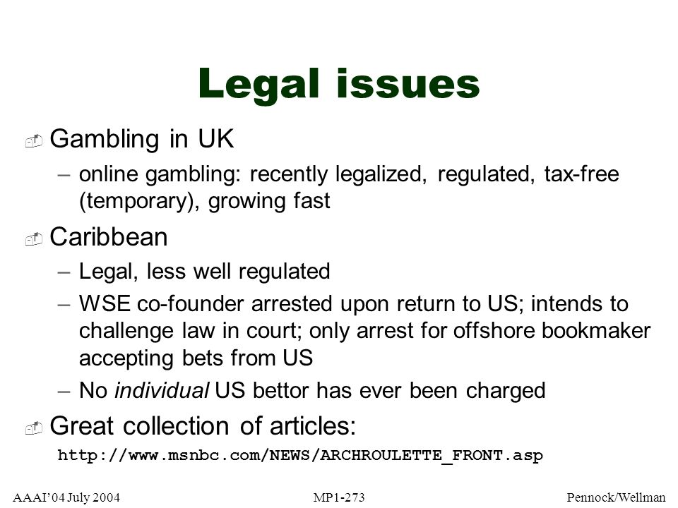 Legal issues Gambling in UK Caribbean Great collection of articles: