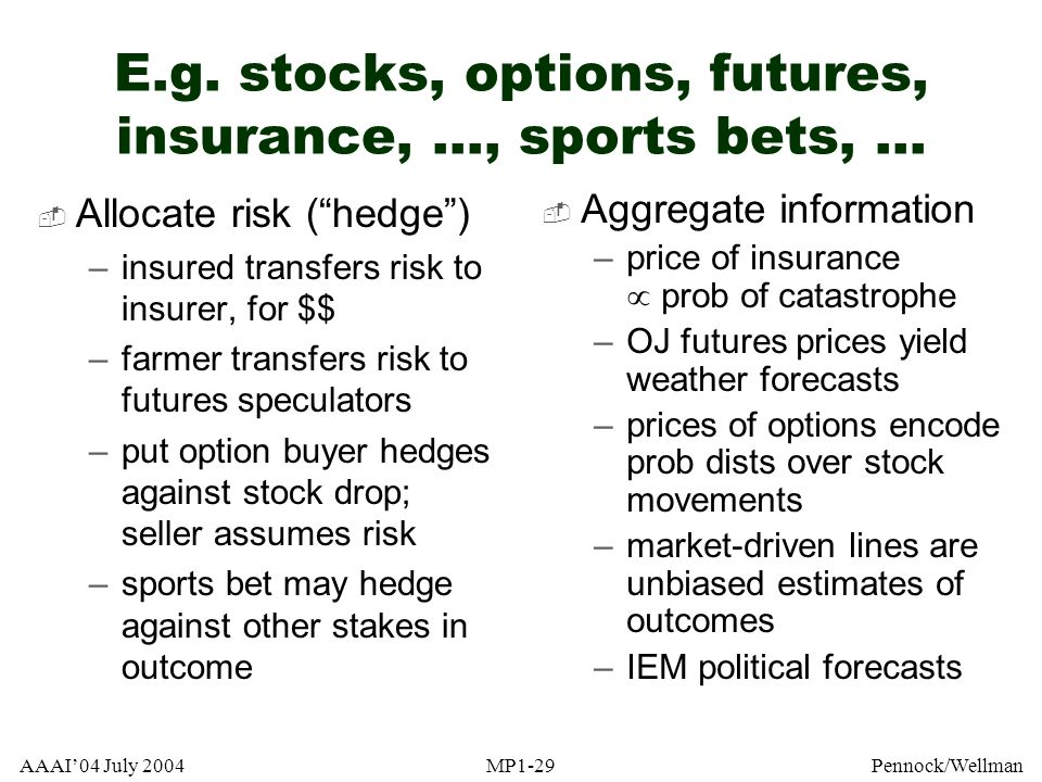 E.g. stocks, options, futures, insurance, ..., sports bets, ...