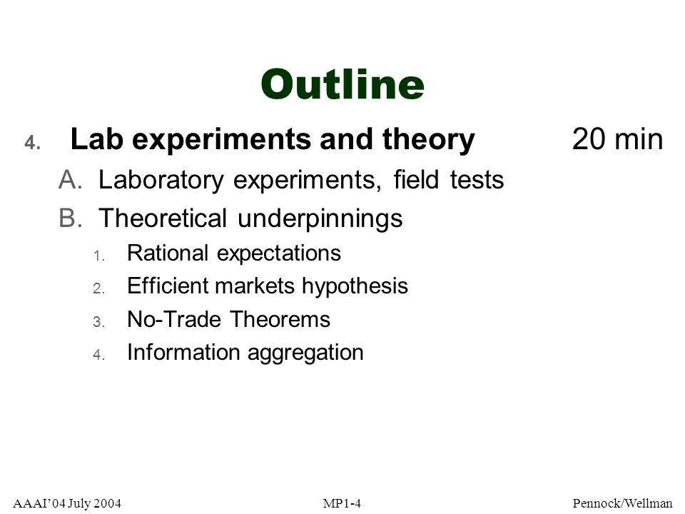 Outline Lab experiments and theory 20 min