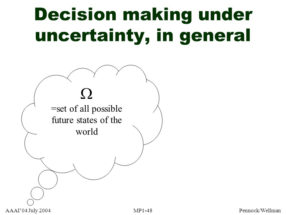 Decision making under uncertainty, in general