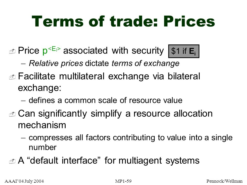 Terms of trade: Prices Price p<Ei> associated with security