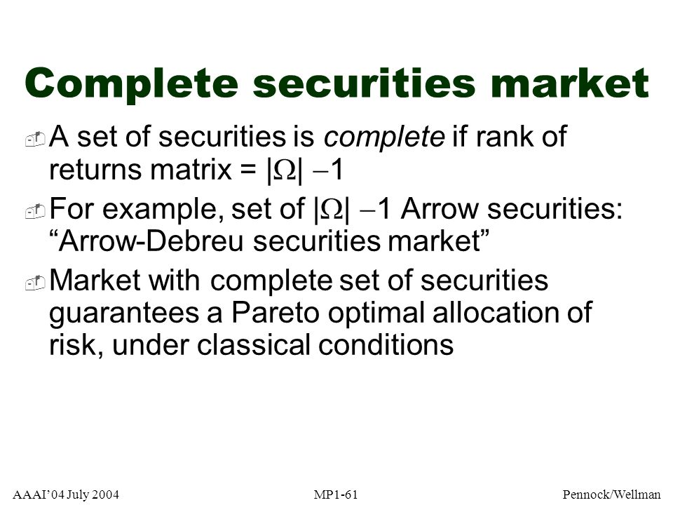 Complete securities market