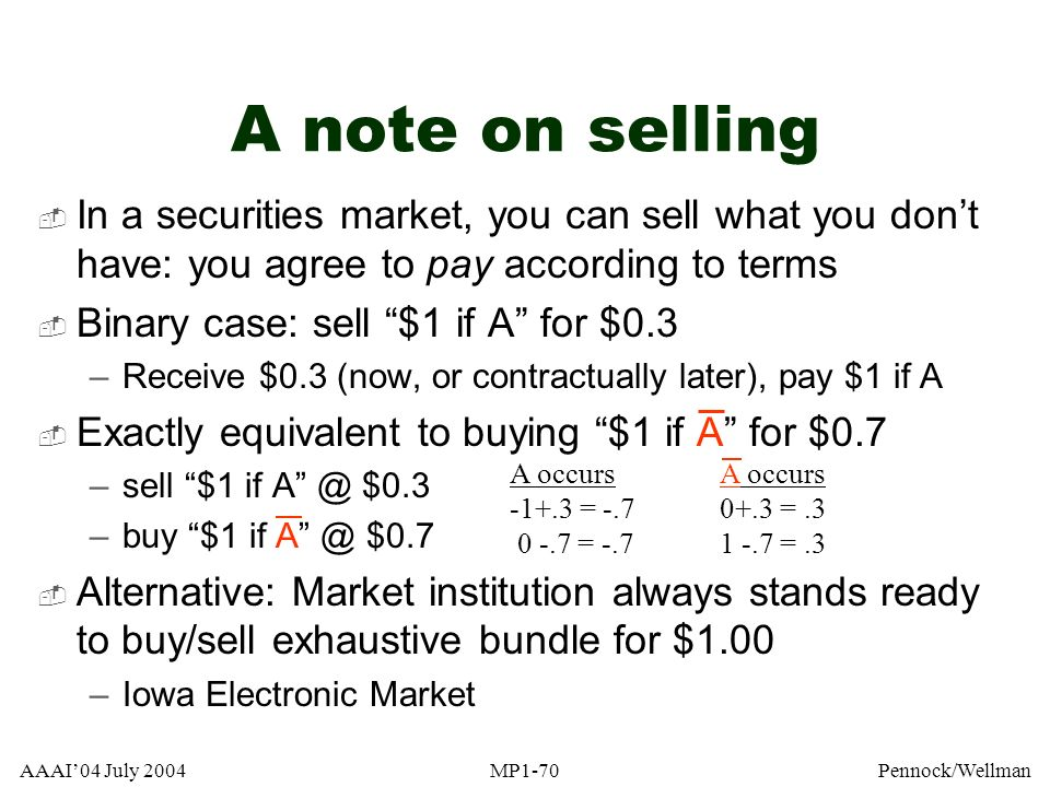 A note on selling In a securities market, you can sell what you don't have: you agree to pay according to terms.