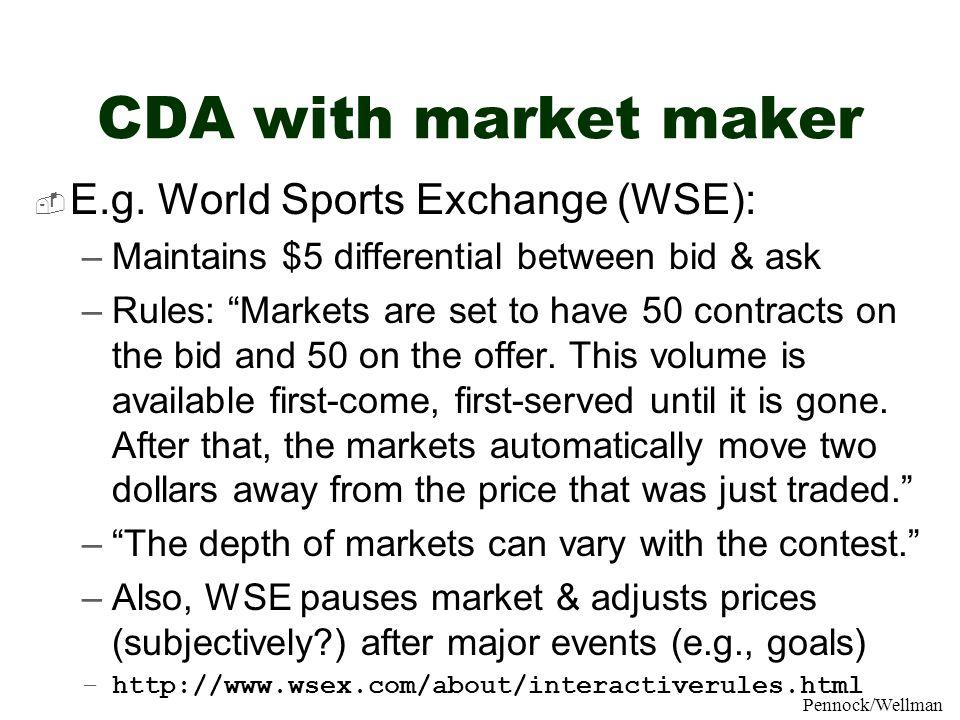 CDA with market maker E.g. World Sports Exchange (WSE):