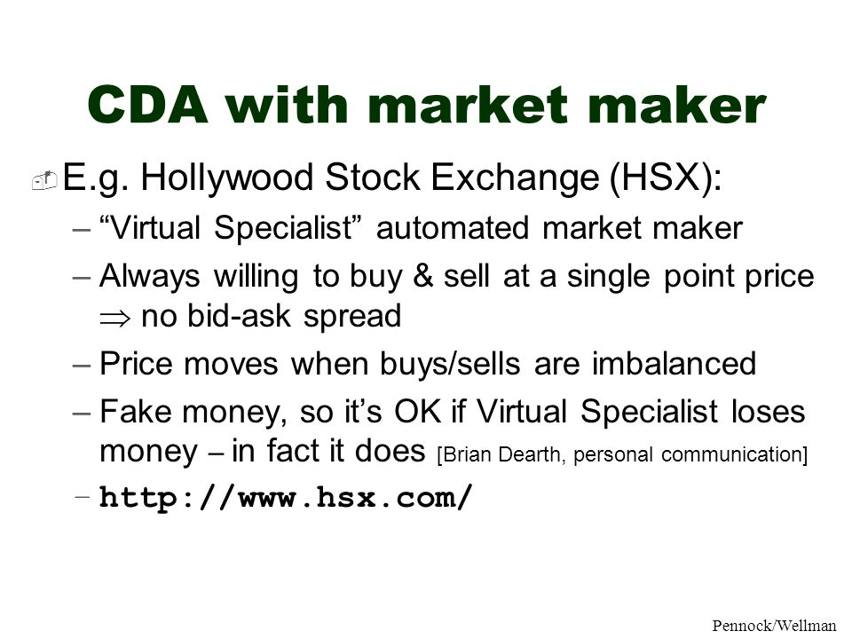 CDA with market maker E.g. Hollywood Stock Exchange (HSX):