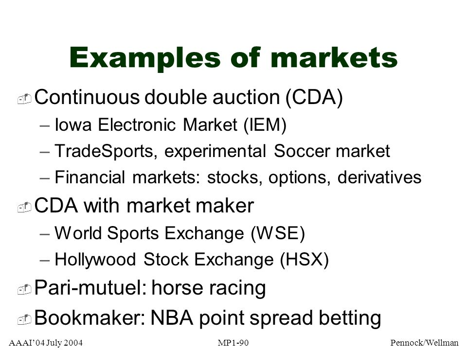 Examples of markets Continuous double auction (CDA)
