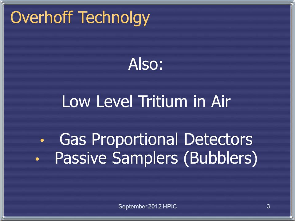 Low Level Tritium in Air Gas Proportional Detectors