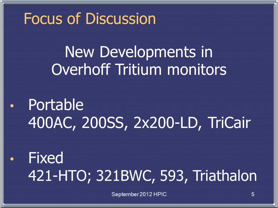 Overhoff Tritium monitors