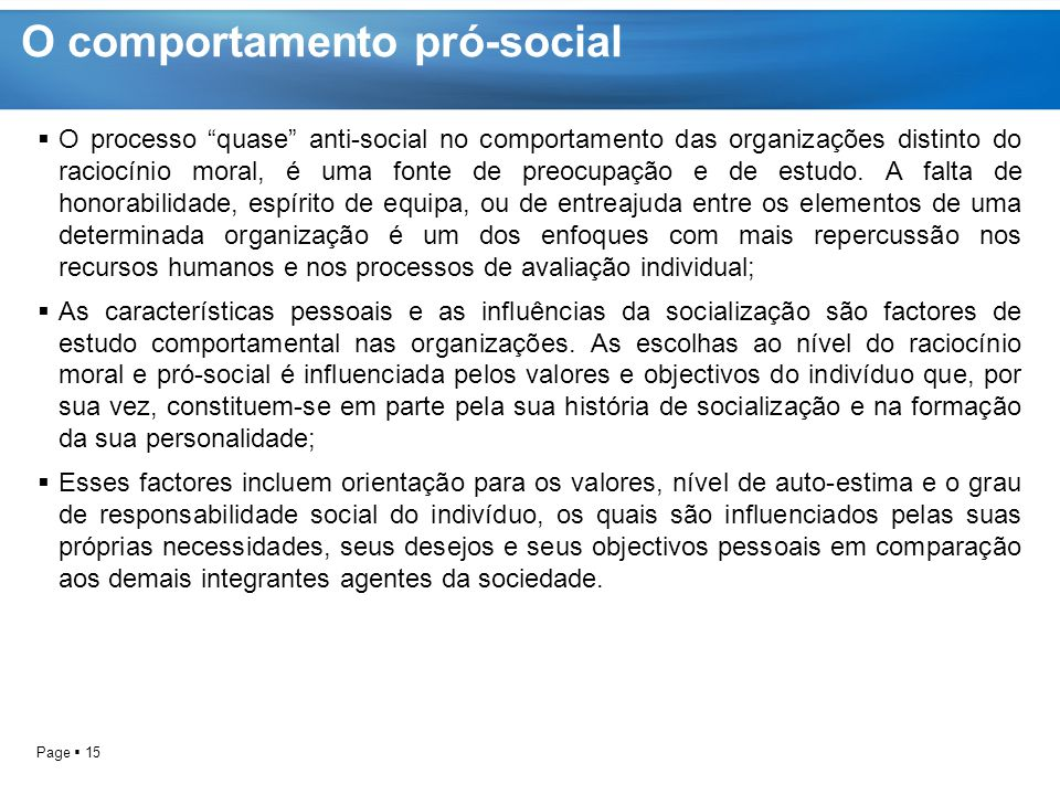 O comportamento pró-social