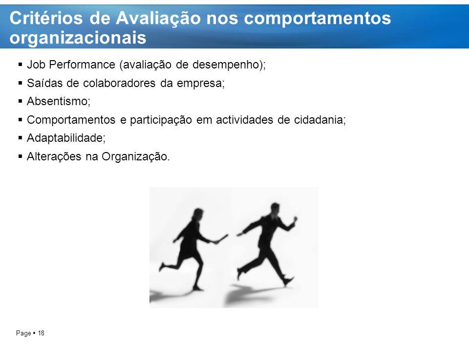 Critérios de Avaliação nos comportamentos organizacionais