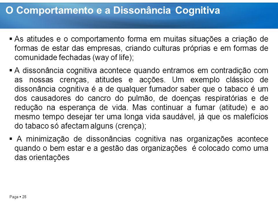 O Comportamento e a Dissonância Cognitiva