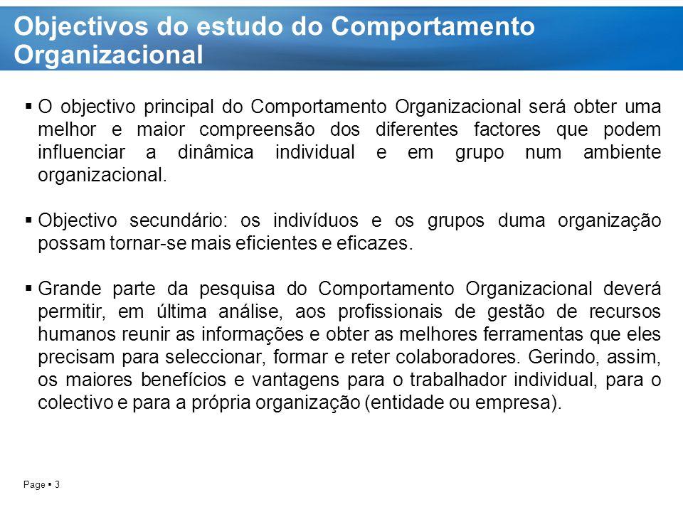 Objectivos do estudo do Comportamento Organizacional