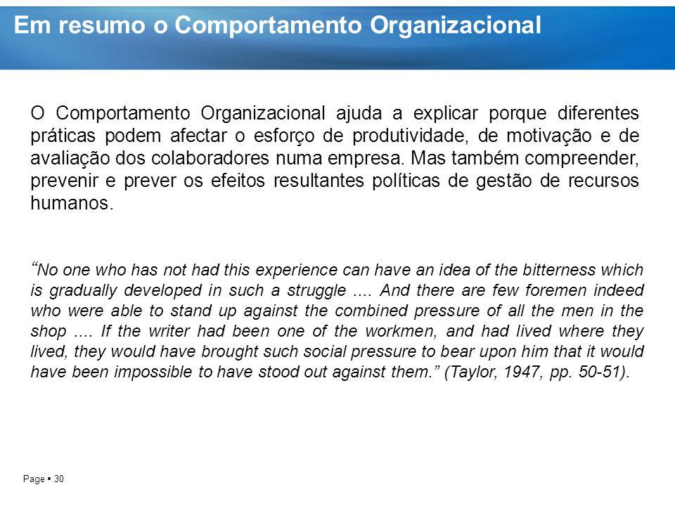 Em resumo o Comportamento Organizacional