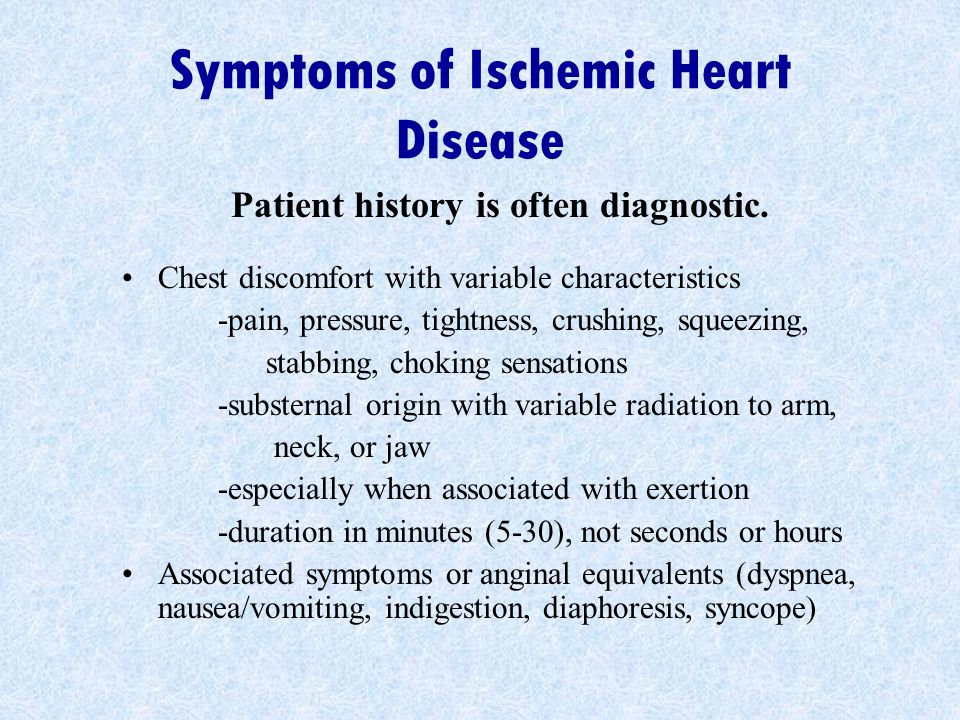 Symptoms of Ischemic Heart Disease