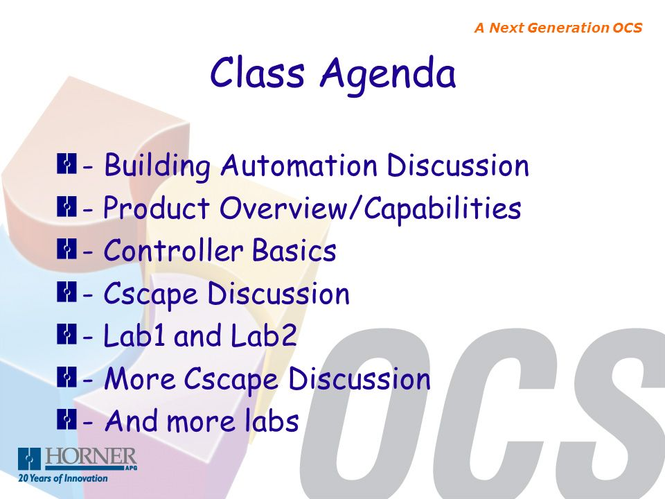 Class Agenda - Building Automation Discussion