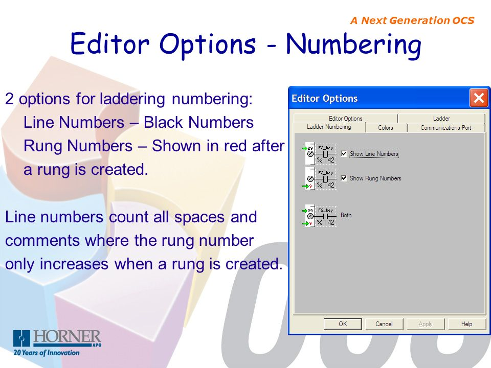 Editor Options - Numbering