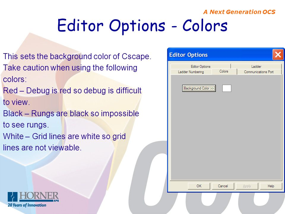Editor Options - Colors