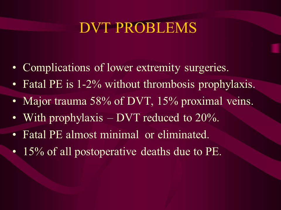DVT PROBLEMS Complications of lower extremity surgeries.
