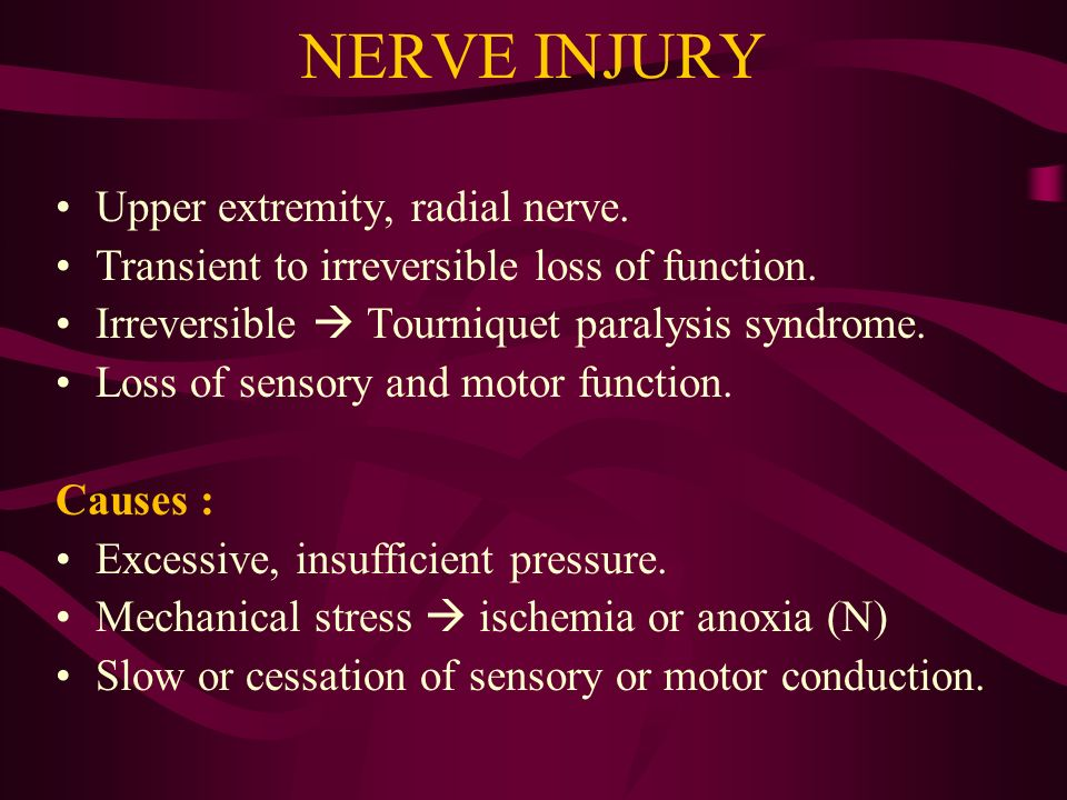 NERVE INJURY Upper extremity, radial nerve.